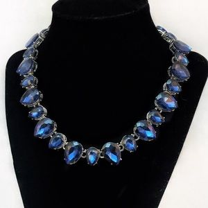 Elegant Navy Blue Crystal Statement Necklace